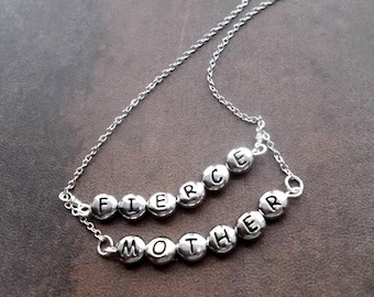 Mothers necklace, fierce mother, mothers day gift, gifts for women, silver necklace, gift for wife, soa jewelry, gemma teller necklace, her