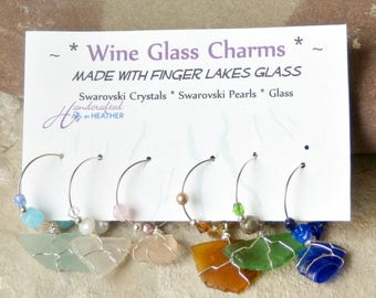 Wine charms, wine glass charm, beach glass, finger lakes, birthday gift for her, couples gift, housewarming gift, unique wedding favors, her