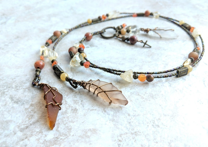 Beach glass necklace yellow and orange jewelry gifts for women 3 in 1 jewelry cross necklace her Citrine and Carnelian Bohemian Lariat