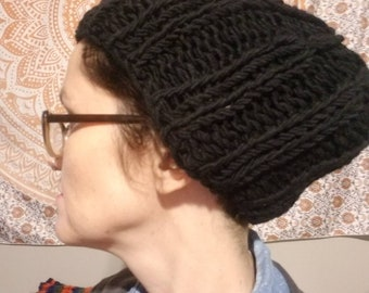 Large Black Slouch Hat dreadlock hat rasta hat hippie hat warm hat e76ea4d13097