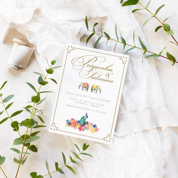 Indian Summer Wedding Invite Sample Indian Summer Wedding   Etsy
