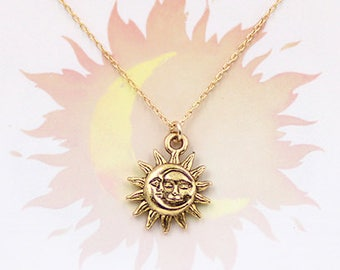 "Dainty Sun & Crescent Moon Charm Pendant Necklace Light Dark Day and Night 14k Gold Filled or Sterling Silver 16""- 18"" Adjustable"