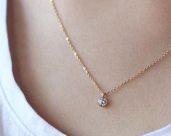 "Dainty Yellow Gold chain Necklace 18""w/ round circle solitaire Cubic Zirconia CZ Pendant Minimal Modern Simple Thin Delicate"