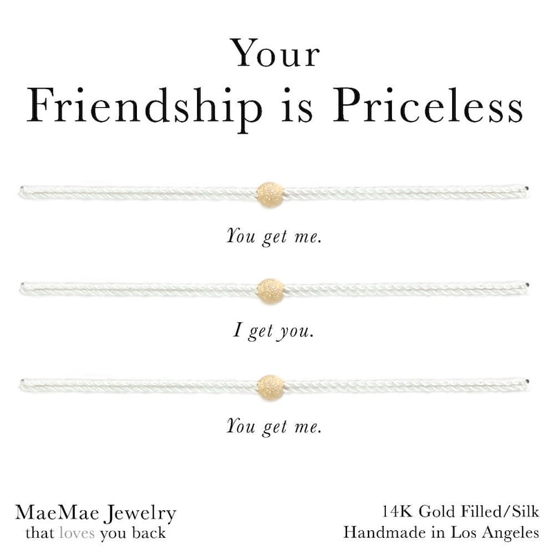 3-set Your Friendship is Priceless Simple Cord Bracelets You Pick Color String /& Stardust Ball Bead Gold Silver or Rose Gold Black Beige Red