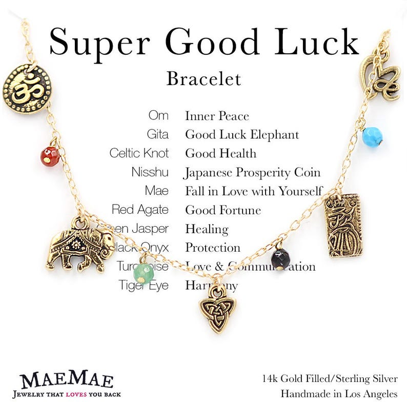 da3b9ef4166f2 Dainty Super Good Luck Charm Bracelet MaeMae Jewelry Genuine Stones 14k  Gold filled or Sterling Silver Adjustable Meaningful Elephant
