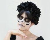 Black Day of the Dead Headpiece, Black Rose Flower Crown, Mexican Floral Crown, Dia de los Muertos Costume, Sugar Skull Headpiece, Goth Rose