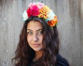 Reserved for Rafael -Frida Kahlo Floral Crown, Frida Headband, Mexican Flower Crown, Frida Floral Headband, Flower Crown, Fiesta, Floral