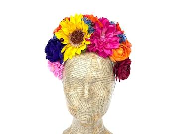 Yellow Sunflower Headpiece, Frida Kahlo Flower Headband, Floral Crown, Fiesta, Floral Headpiece, Boho Flower Crown, Day of the Dead, Costume
