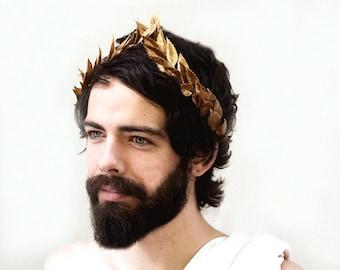 Men's Gold Leaf Headband, Greek Headpiece, Gold Leaf Laurel, Gold Leaf Crown, Toga Costume, Greek God, Greek Gold Leaf Headband, Man Crown