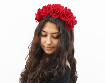 4th of July Red Rose Flower Crown, Red Rose Headband, July 4th, Red, Floral Crown, Boho Red Rose Crown, Rose Headpiece, Red Rose Crown, Boho