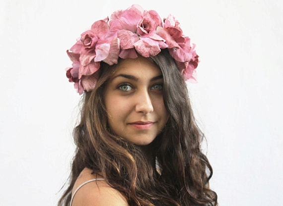 Pink Velvet Rose Crown Blush Pink Flower Crown Lolita  3c58ed1b651