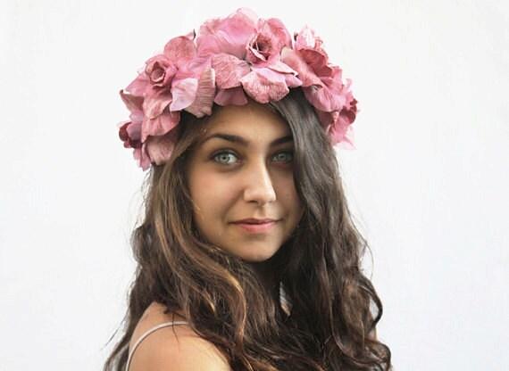 Pink Velvet Rose Crown Blush Pink Flower Crown Lolita  77d285e25e3