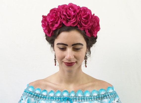 Pink Rose Flower Crown Headband Mexican Headpiece Pink Rose  f9526cd1741