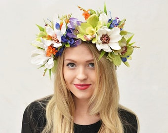 Tropical Flower Crown, Tropical Headpiece, Orchid Flower Crown, Tropical Wedding, Hawaiian, Orchid Flower Crown, Floral Crown, Flower Crown