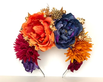 Day of the Dead, Blue, Gold, Orange Floral Headpiece, Frida Kahlo Costume, Dia de Los Muertos Headband, Autumn Flower Crown, Boho, Fiesta