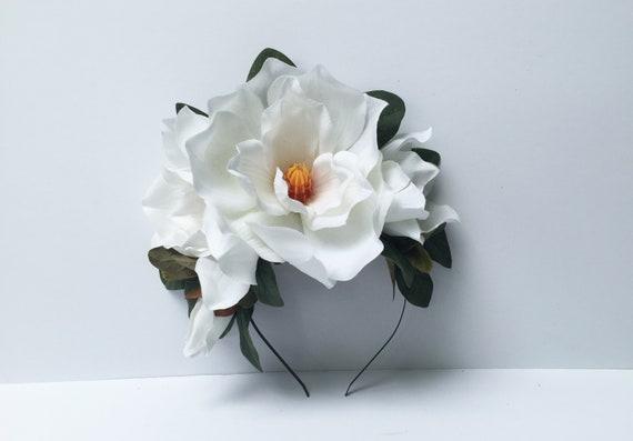 Magnolia Fascinator, Ivory Flower Headband, Tropical Headpiece, Magnolia Flower Crown, Floral Crown, Bridal Headpiece, Flower Headband, Boho
