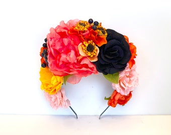 Sunflower Coral Pink Flower Headpiece, Frida Kahlo Floral Crown, Mexican Wedding, Fiesta, Yellow, Flower Headband, Bohemian, Day of the Dead