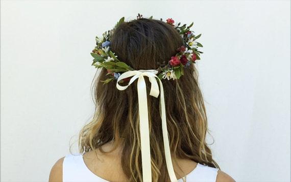 Wildblumen Blumenkrone, Braut Kopfschmuck, Waldhochzeit, rustikale Blumenkrone, böhmische Braut Blumen Haarkranz, Wildblumen, Boho