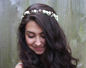 Ivory Bridal Flower Crown, Bridal Headpiece, Floral Crown, White Flower Hair Wreath, Wedding Crown, Boho, Woodland, Bridal Crown, Rustic