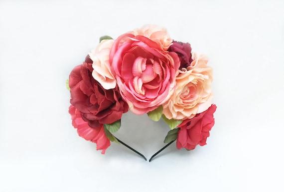Rose Mexicaine Fleur Couronne Couronne Florale Peche Fiesta Etsy