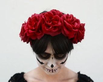 Red Rose Flower Crown, Red Rose Crown, Frida, Mexican Flower Crown, Day of the Dead, Dia de los Muertos Headpiece, Fiesta, Rose Crown, Kahlo