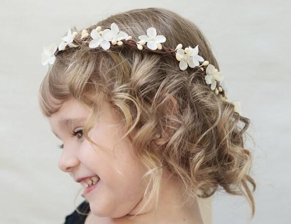 Items Similar To Flower Girl Flower Crown Ivory Flower Girl