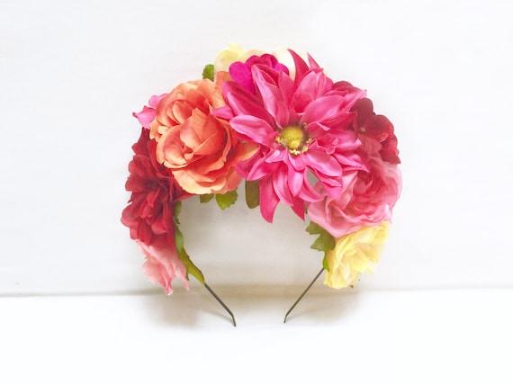 Mexicaine Couronne De Fleurs Rose Orange Frida Casque Etsy