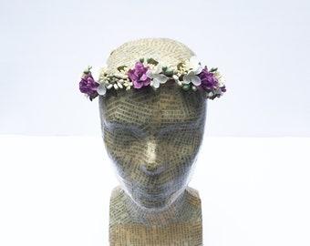 Lavender Rose Bridal Flower Crown, Lavender Ivory Floral Headpiece, Flower Hair Wreath, Circlet, Rustic, Bridal Headpiece, Woodland Wedding,