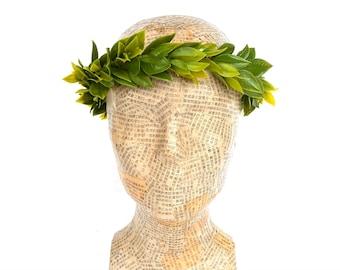 Green Leaf Laurel Crown, Greek God Headpiece, Roman Head Wreath, Myrtle Leaf Circlet, Man Crown, Toga Costume, Groom, Weddings, Headband