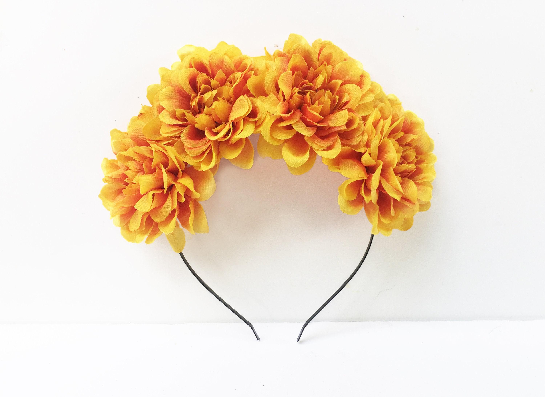 Orange marigold Textile flower Mexican celebration floral embellishments. Dia de los Muertos Home decor