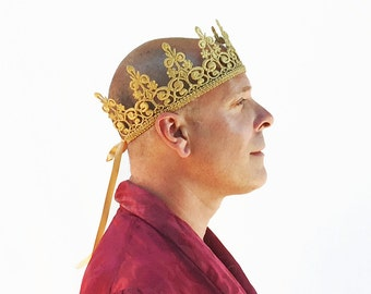 Men's Gold Crown, Gold Lace Man Crown, Gold Crown, Costume, Birthday Crown, Men's Crown, Black Lace Crown, Silver Crown, King, Pride
