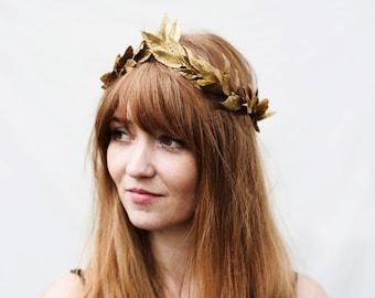 Solstice Gold Leaf Crown, Tiara, Bridal Headpiece, Gold Leaf Headband, Greek Goddess, Gold Hair Laurel, Toga Costume,  Renaissance Garland