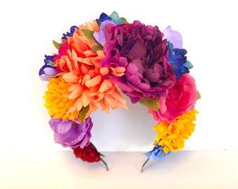Mexican Flower Headband, Dia de Los Muertos Flower Headpiece, Frida Kahlo Costume, Fiesta, Day of the Dead, Flower Crown, Bohemian, Cartrina