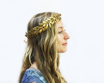 Gold Leaf Headband, Gold Leaf Crown, Unisex, Gold Crown, Gold Leaf Laurel, Winter Wedding, Greek Wedding, Gold Leaf Headband, Leaf Headpiece