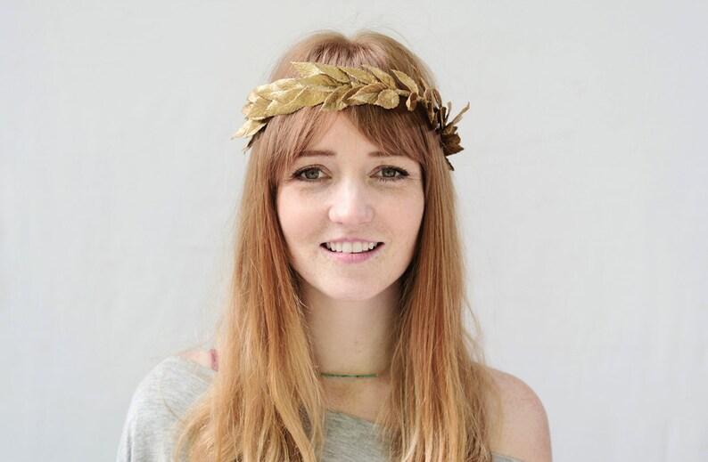 Gold Leaf Crown Gold Leaf Laurel Greek Goddess Headband image 0