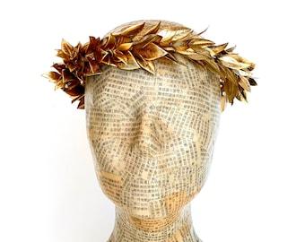 Golden Leaf Crown, Gold Leaf Laurel, Greek Headpiece, Roman, Greek God, Toga Costume, Men's Leaf Headband, Greek Wedding, Woman's Caesar