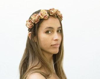 Rose Gold Flower Crown, Gold Flower Crown, Rose Gold, Flower Headpiece, Gold Crown, Gold Headpiece, Rose Flower Crown, Floral Crown