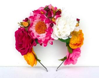 Pink and Yellow Flower Headpiece, Frida Kahlo Floral Crown, Summer Fiesta, Mexican Headband, Day of the Dead, Wedding, Dia de Los Muertos