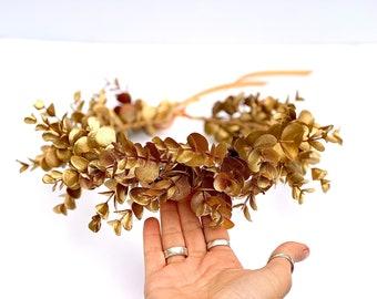 Gold Eucalyptus Leaf Crown, Hair Garland, Hair Laurel, Greek God, Solstice Headpiece, Men's Leaf Crown, Graduation Gift, Toga Costume, Boho