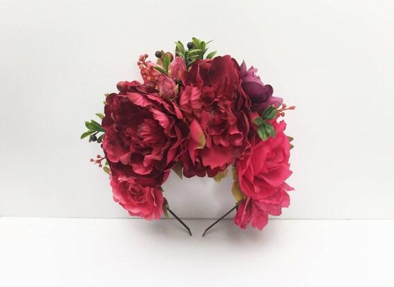 Couronne De Fleurs Mexicain Rose Profond Jour Des Morts Fleur Etsy