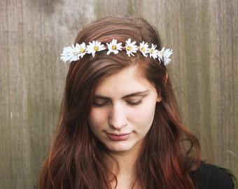 White Daisy Crown, Daisy Flower Crown, Daisy Halo, Festival Clothing, Hippie Headband, Floral Crown, Daisy Flower Headband, Daisy Headpiece