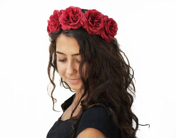 Day of the Dead Red Rose Headband Red Flower Crown Red Rose  5fcec4ead55