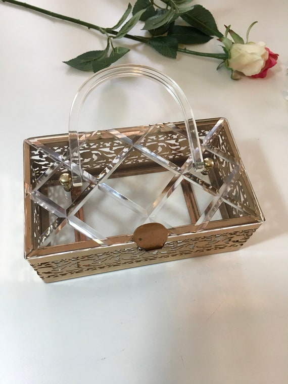 Vintage 50s Clear Lucite Brass Filigree Box Purse