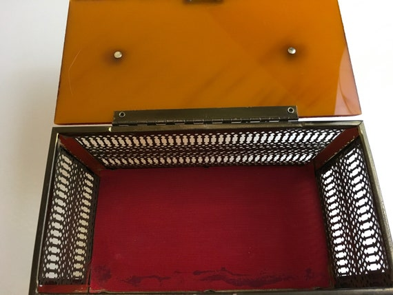 Vintage 50s Amber Lucite Metal Box Purse - image 7