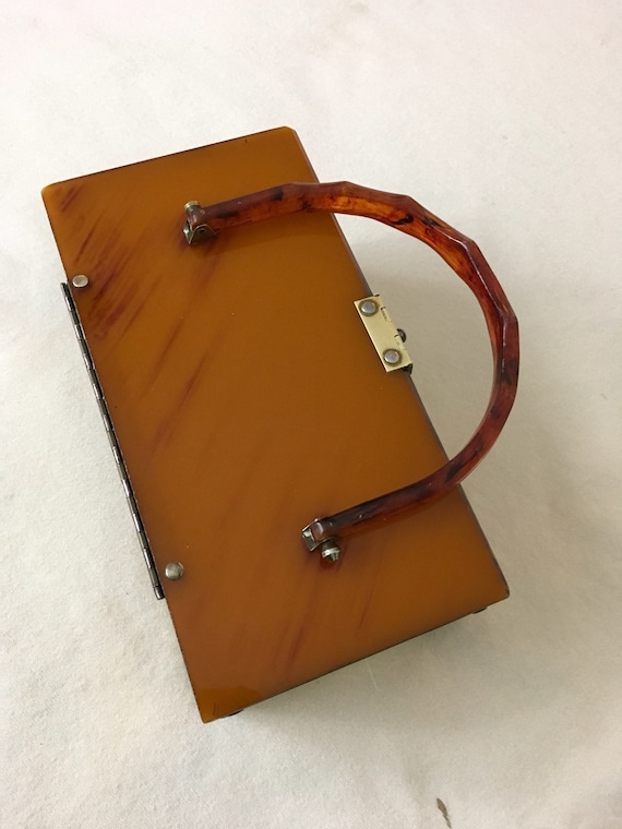 Vintage 50s Amber Lucite Metal Box Purse - image 10