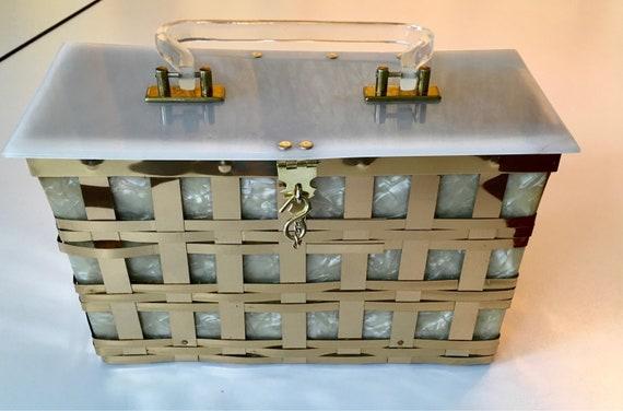 Vintage 50s Dorset Rex Brass Lucite Basket Weave B