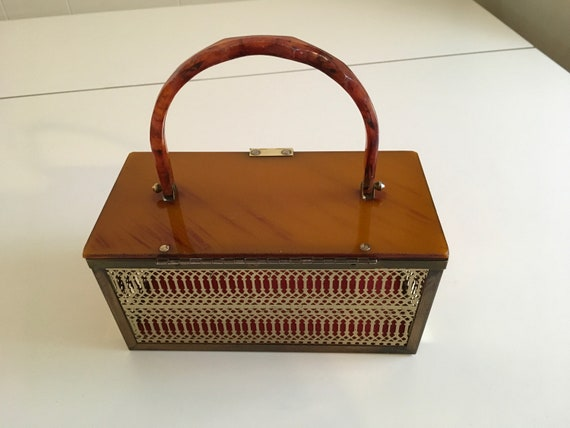 Vintage 50s Amber Lucite Metal Box Purse - image 9