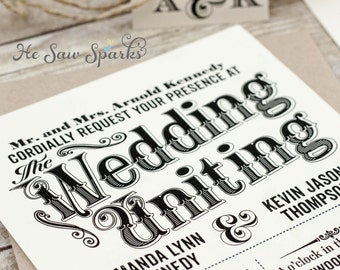 Vintage Printable Wedding Invitation - Time Stands Still Collection