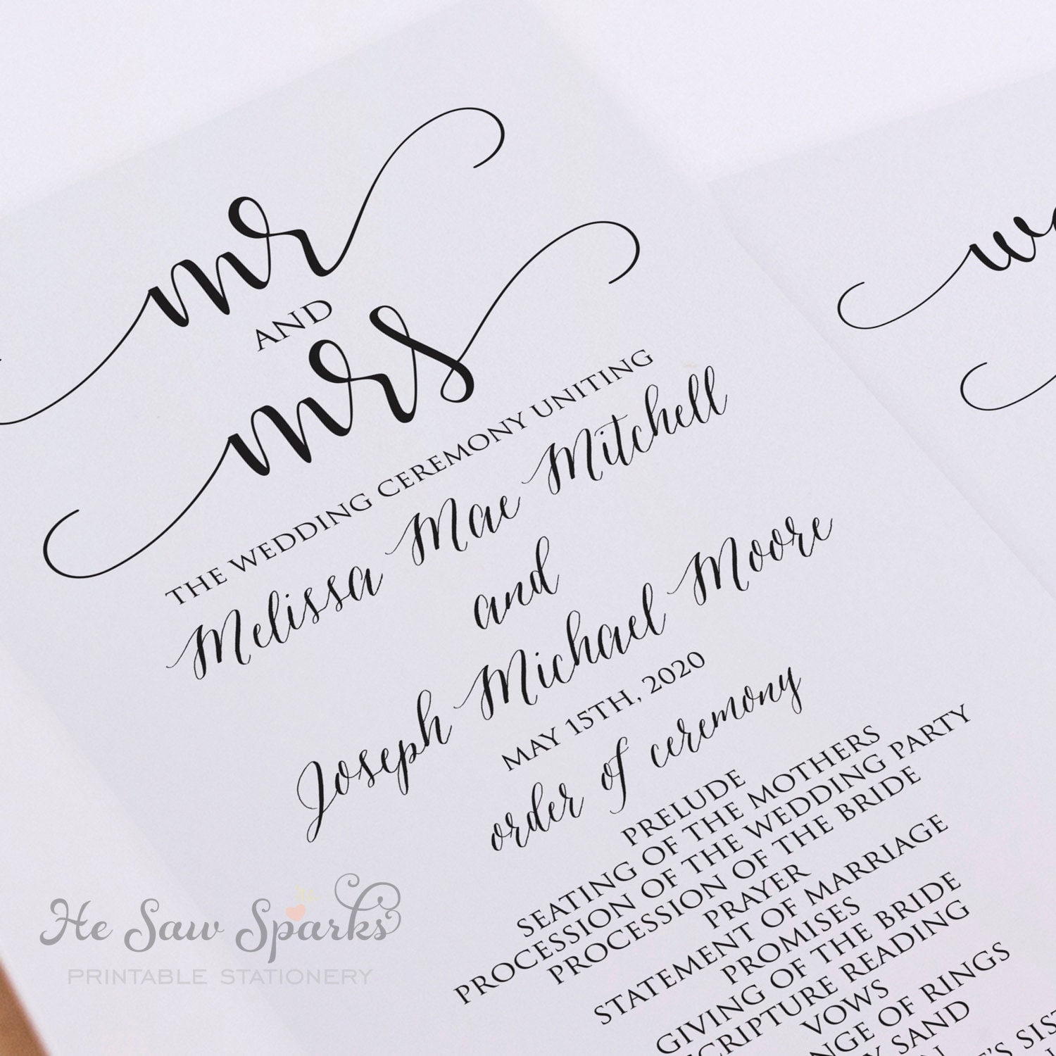 Instant Download Editable Wedding Program Mr And Mrs