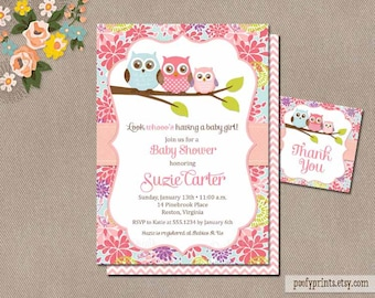 Owl baby shower invitation etsy owl baby shower invitations diy printable baby girl shower invitations free favor tags included suzie collection filmwisefo